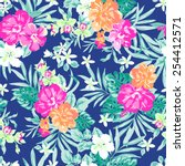 hawaiian tropical floral print  ... | Shutterstock .eps vector #254412571