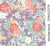 hawaiian tropical floral print  ... | Shutterstock .eps vector #254412574