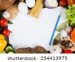 set of vegetables and spices on ... | Shutterstock . vector #254413975