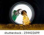 refilling fuel view from inside ... | Shutterstock . vector #254422699