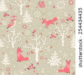 winter forest background.... | Shutterstock .eps vector #254434435