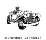 devil riders with vintage a car | Shutterstock .eps vector #254450617
