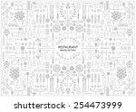 restaurant branding line art... | Shutterstock .eps vector #254473999