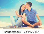beautiful couple kissing on the ... | Shutterstock . vector #254479414