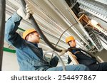 two electrician builder... | Shutterstock . vector #254497867