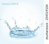blue water splash  vector... | Shutterstock .eps vector #254519104
