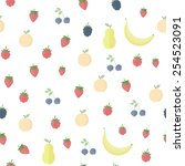 seamless background with fruits ... | Shutterstock .eps vector #254523091