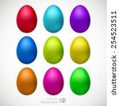 easter eggs set. vector eps 10. | Shutterstock .eps vector #254523511
