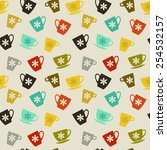 seamless pattern. colored cups... | Shutterstock .eps vector #254532157