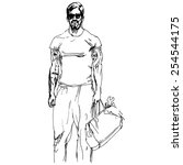 a sketch style handsome fashion ... | Shutterstock .eps vector #254544175
