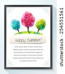 frame with colorful summer... | Shutterstock .eps vector #254551561