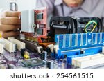 installing vga card on computer ... | Shutterstock . vector #254561515