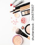 brush and cosmetic isolated on... | Shutterstock . vector #254575057