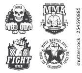 set of four mma emblems  labels ... | Shutterstock .eps vector #254590885