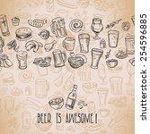 sketchy beer and snacks  vector ... | Shutterstock .eps vector #254596885