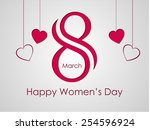 8 march women day card colorful ... | Shutterstock .eps vector #254596924
