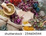healing herbs in hessian bags ... | Shutterstock . vector #254604544