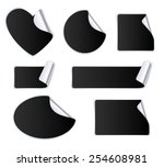 set of black stickers   silver... | Shutterstock .eps vector #254608981