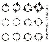 black rotating circle arrows...