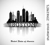 Stock vector boston skyline city silhouette 254619871