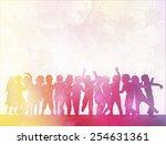 happy children dancing together | Shutterstock .eps vector #254631361