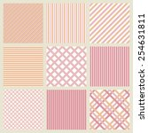 set of pink geometric striped... | Shutterstock .eps vector #254631811
