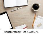 cluttered office desk background   Shutterstock . vector #254636071