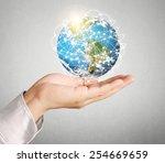 globe  earth in human hand