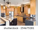 kitchen in luxury home with... | Shutterstock . vector #254675281