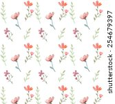 seamless flowers and leaves... | Shutterstock .eps vector #254679397