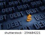 a small  gold dollar sign... | Shutterstock . vector #254684221