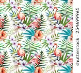 flamingos  pattern  watercolor  ... | Shutterstock . vector #254699965