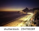 Sunset Over Ipanema Beach In...