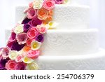 Detail Of A White Wedding Cake...