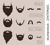 beards and mustaches set with... | Shutterstock .eps vector #254709601
