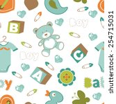 colorful baby boy seamless... | Shutterstock .eps vector #254715031