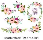 flower watercolor vector set | Shutterstock .eps vector #254715604
