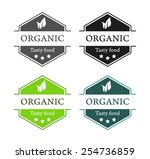 emblems with organic tasty food ... | Shutterstock .eps vector #254736859