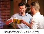 two handsome friends in a pub... | Shutterstock . vector #254737291