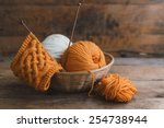 Balls Of Yarn In Basket With...