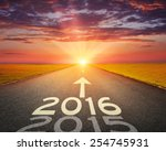driving on an empty road... | Shutterstock . vector #254745931
