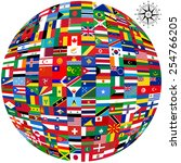 flags of the world and  map on... | Shutterstock .eps vector #254766205
