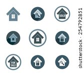 real estate vector icons set ... | Shutterstock .eps vector #254792851