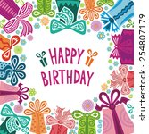 happy birthday greeting card... | Shutterstock . vector #254807179