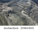 Large excavators in coal mine, aerial view  - stock photo