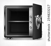 bank open safe empty on white ... | Shutterstock .eps vector #254823217
