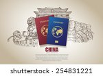 china travel poster. hand drawn ...   Shutterstock .eps vector #254831221