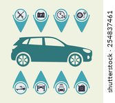 car service infographics. auto... | Shutterstock .eps vector #254837461