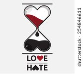 hourglass of love and hate.... | Shutterstock .eps vector #254846611