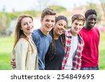 multiethnic group of teenagers... | Shutterstock . vector #254849695